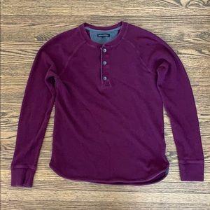 Burgundy waffle knit Henley top